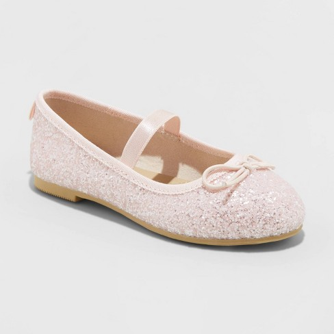Toddler Girls' Lily Glitter Ballet Flats - Cat & Jack™ Pink - image 1 of 3