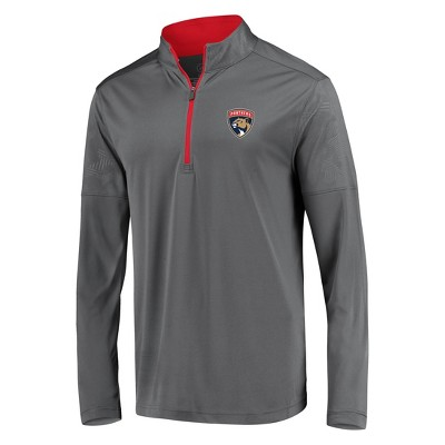 NHL Florida Panthers Men's Defender Embossed 1/4 Zip Sweatshirt - Gray L