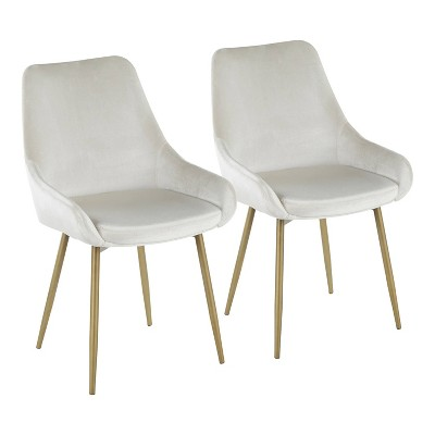Set of 2 Diana Contemporary Chairs Cream Velvet - LumiSource