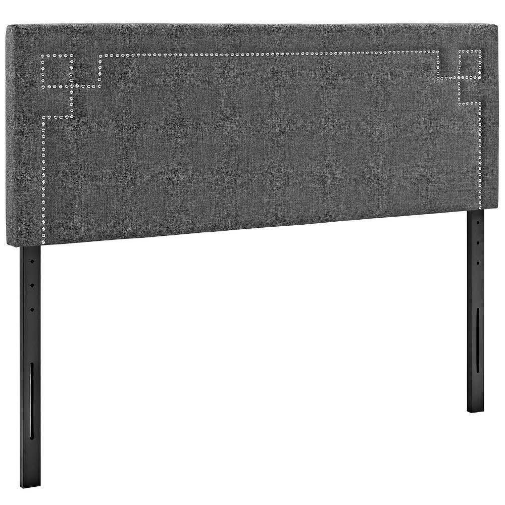 Josie King Upholstered Fabric Headboard Gray - Modway