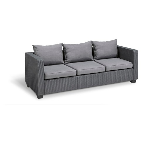 Salta Outdoor Resin Patio 3 Seat Sofa With Cushions Keter