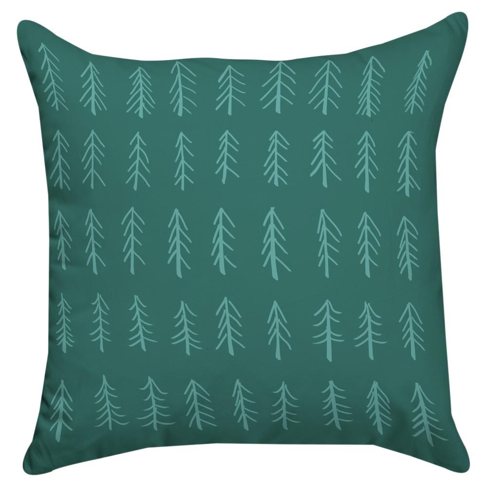 Teal Little Tree Throw Pillow 18 X18 Thumbprintz