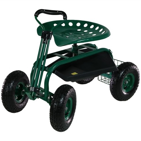 rolling garden cart with extendable steering handle swivel seat and basket green sunnydaze decor - Garden Cart With Seat