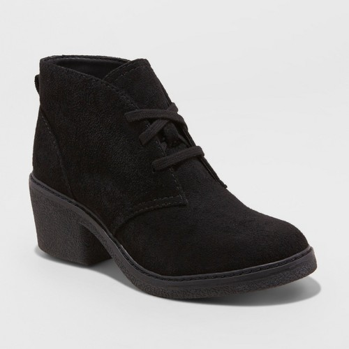 Women's Lucia Microsuede Lace-Up Heeled Ankle Booties - Universal Thread Black 6