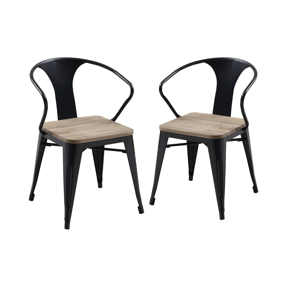 Set of 2 Clarkson Industrial Inspired Dining Side Chair Black/Light Oak - ioHOMES