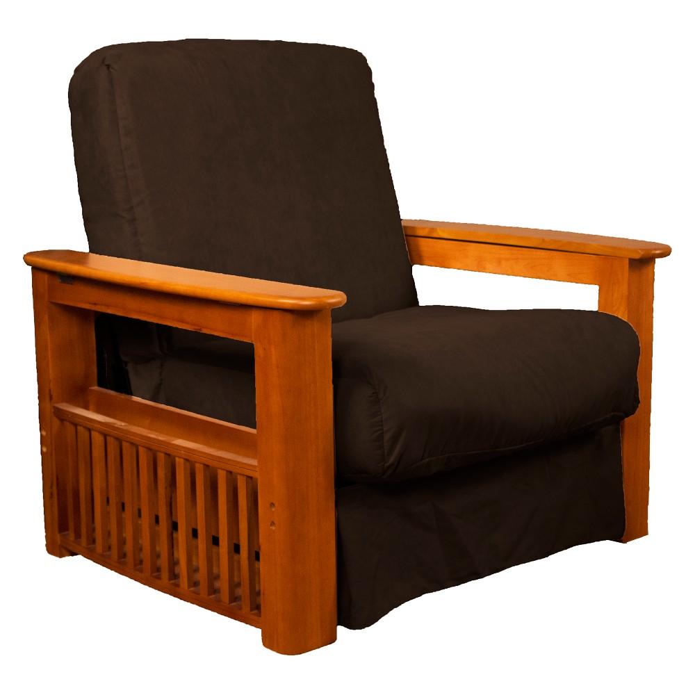 Flip Top Arm Perfect Futon Sofa Sleeper Medium Oak Wood Finish Chocolate Brown - Epic Furnishings