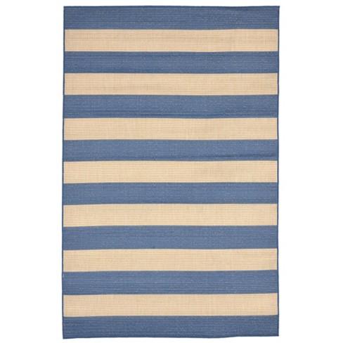 "4'10""X7'6"" Rugby Stripe Area Rug Blue - Liora Manne - image 1 of 3"