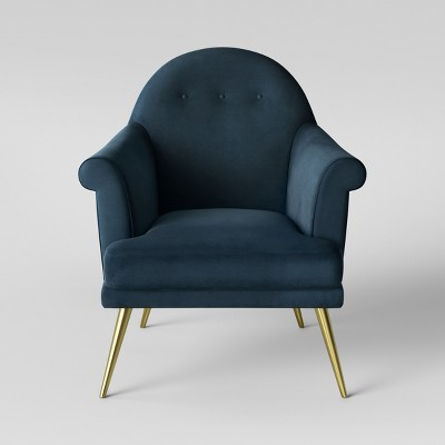 Myna Tufted Arm Chair with Brass Legs Velvet Blue - Assembly Required - Opalhouse™