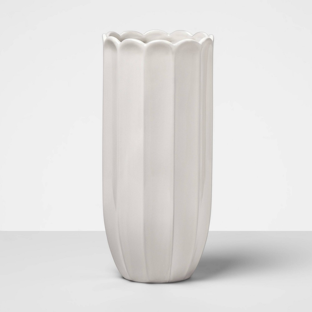 "Image of ""13.8"""" x 6.5"""" Decorative Terra Cotta Vase White - Opalhouse , Beige"""