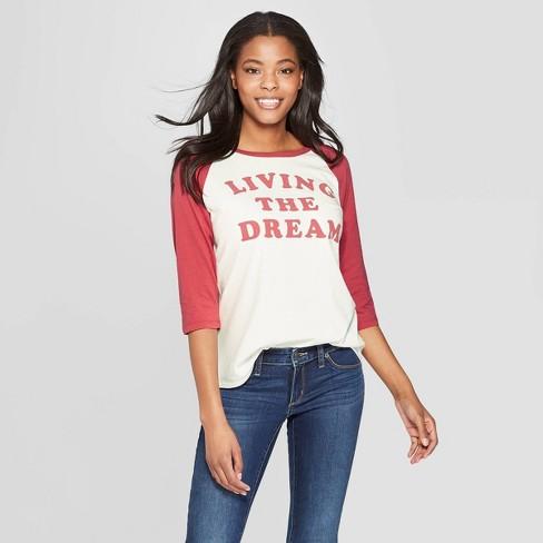 7c334d18418 Women's Short Sleeve Living the Dream Raglan T-Shirt - Junk Food (Juniors')  White