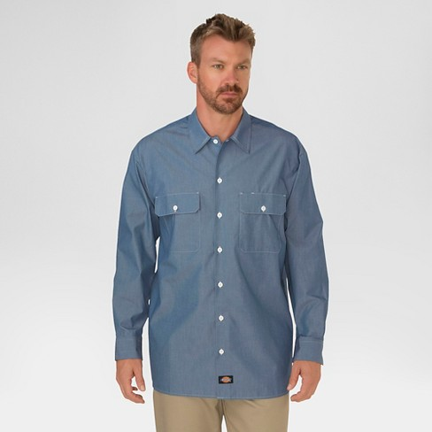 262c54e7413 Dickies® Men s Relaxed Fit Chambray Long Sleeve Shirt   Target