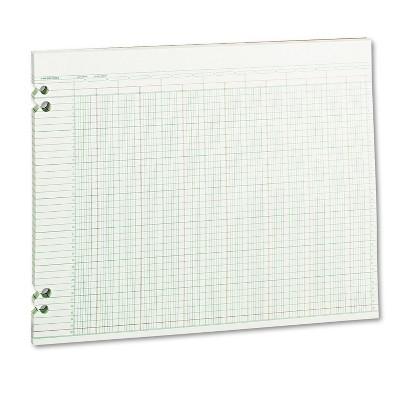 Wilson Jones Accounting Sheets 24 Columns 11 x 14 100 Loose Sheets/Pack Green G3024