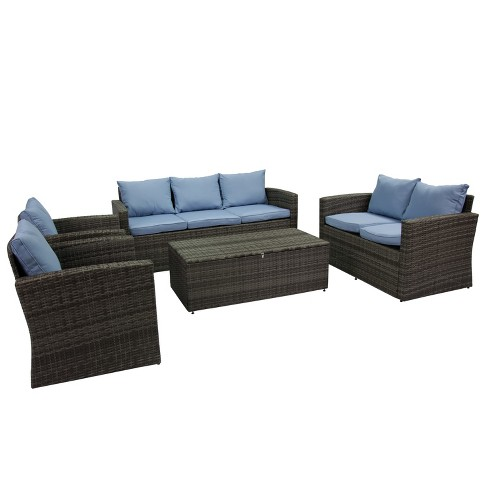 5pc Rio All-Weather Wicker Conversation set with Storage - Thy-Hom - image 1 of 4