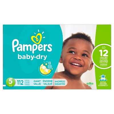 Pampers Baby Dry Diapers, Giant Pack - Size 5 (112 ct)