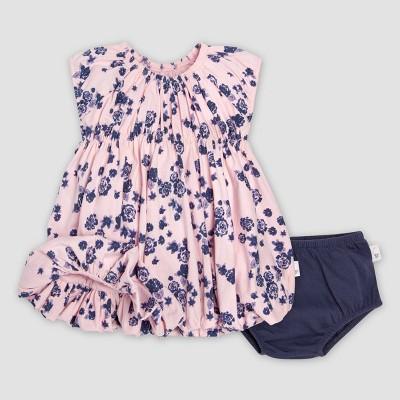 Burt's Bees Baby® Baby Girls' Organic Cotton Floral Dress & Diaper Cover Set - Indigo 0-3M