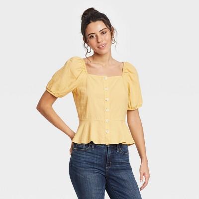 Women's Puff Short Sleeve Peplum Blouse - Universal Thread™