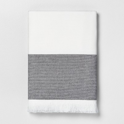 Colorblock Stripe Bath Towel Gray - Hearth & Hand™ with Magnolia