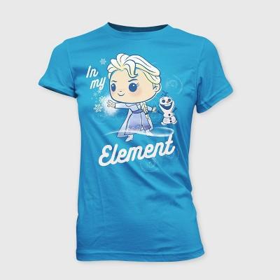 Girls' Disney Frozen 'In My Element' Graphic T-Shirt with Mini Funko POP - Blue XL