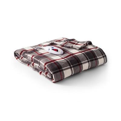 Microplush Electric Extra Long Plaid Throw (72 x50 )Gray & Burgundy- Biddeford Blankets