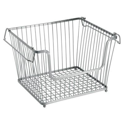 mDesign Stackable Metal Food Storage Basket with Handles