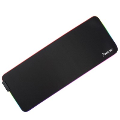 INSTEN - Gaming RGB LED Mouse Pad Extra Large Extended, Gaming Smooth Surface with Anti-Slip Rubber Base, fits with Optical, Laser Mouse