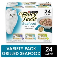 Purina Fancy Feast Gravy Wet Cat Food Variety Pack Seafood Grilled Collection - 3oz Cans