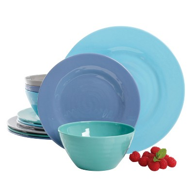 Dinnerware Set Gibson Home Blue Solid