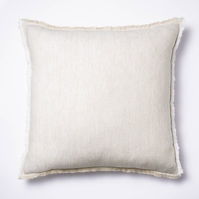Oversized Square Linen Throw Pillow with Contrast Frayed Edges White/Cream - Threshold™ designed with Studio McGee
