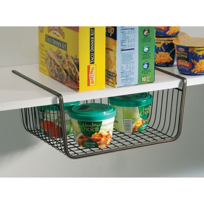 InterDesign York Lyra Under-the-Shelf Steel Wire Basket 12.5  Bronze