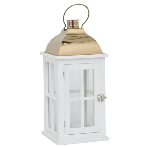 "Wood/Metal Lantern White/Copper 17.75"" - Three Hands® - image 1 of 1"