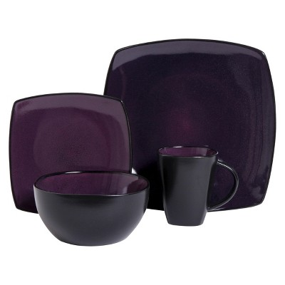 Gibson Tocata Lounge 16pc Dinnerware Set Plum