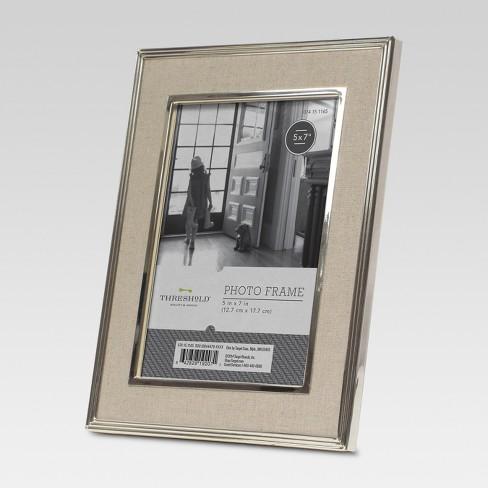 5x7 Metal Frame With Linen Mat Natural Threshold Target