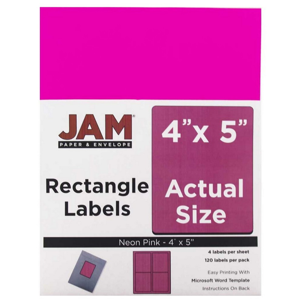Jam Paper Shipping Labels 4 x 5 120ct - Neon Pink
