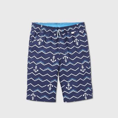 Boys' Anchor Zig-Zag Striped Colorblock Swim Trunks - Cat & Jack™ Navy