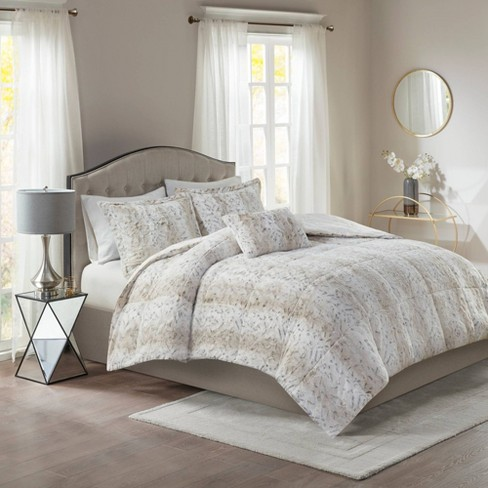 Marselle King 4pc Faux Fur Comforter Set Snow Leopard : Target