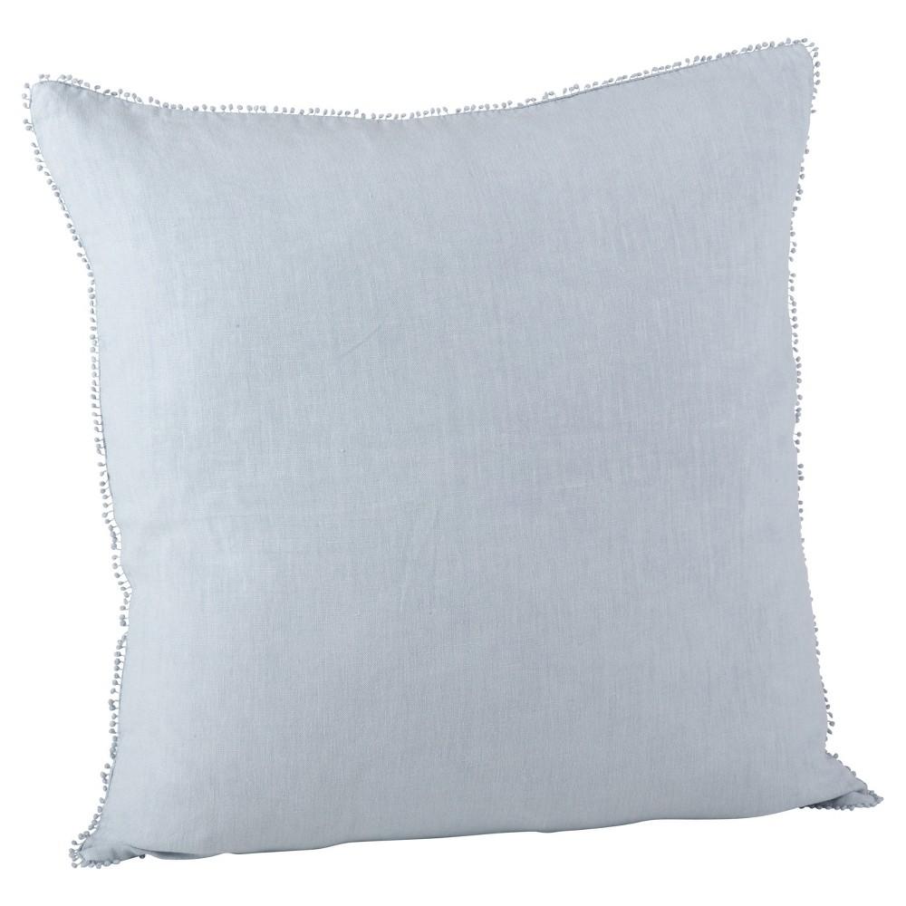 Blue Pompom Design Throw Pillow (20) - Saro Lifestyle, French Lilac