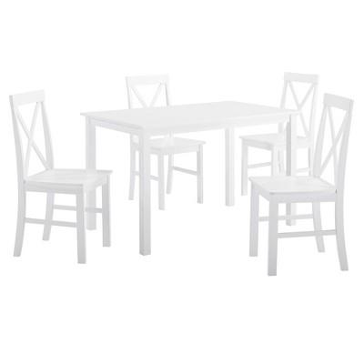 5pc Solid Wood Farmhouse Dining Set White - Saracina Home
