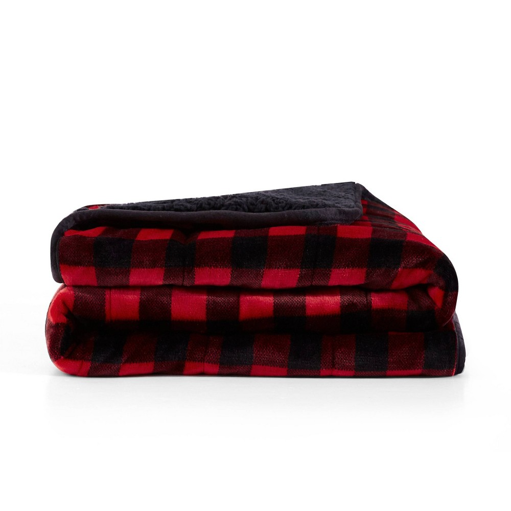Image of Printed Shiny Velvet Reversible to Sherpa Weighted Throws Buffalo Red - Rejuve