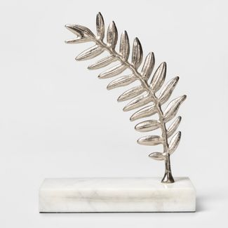 Decorative Leaf Figurine - Marble/Silver - Threshold™