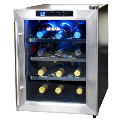NewAir 12 Bottle Countertop Thermoelectric Wine Cooler - Stainless Steel AW-121E