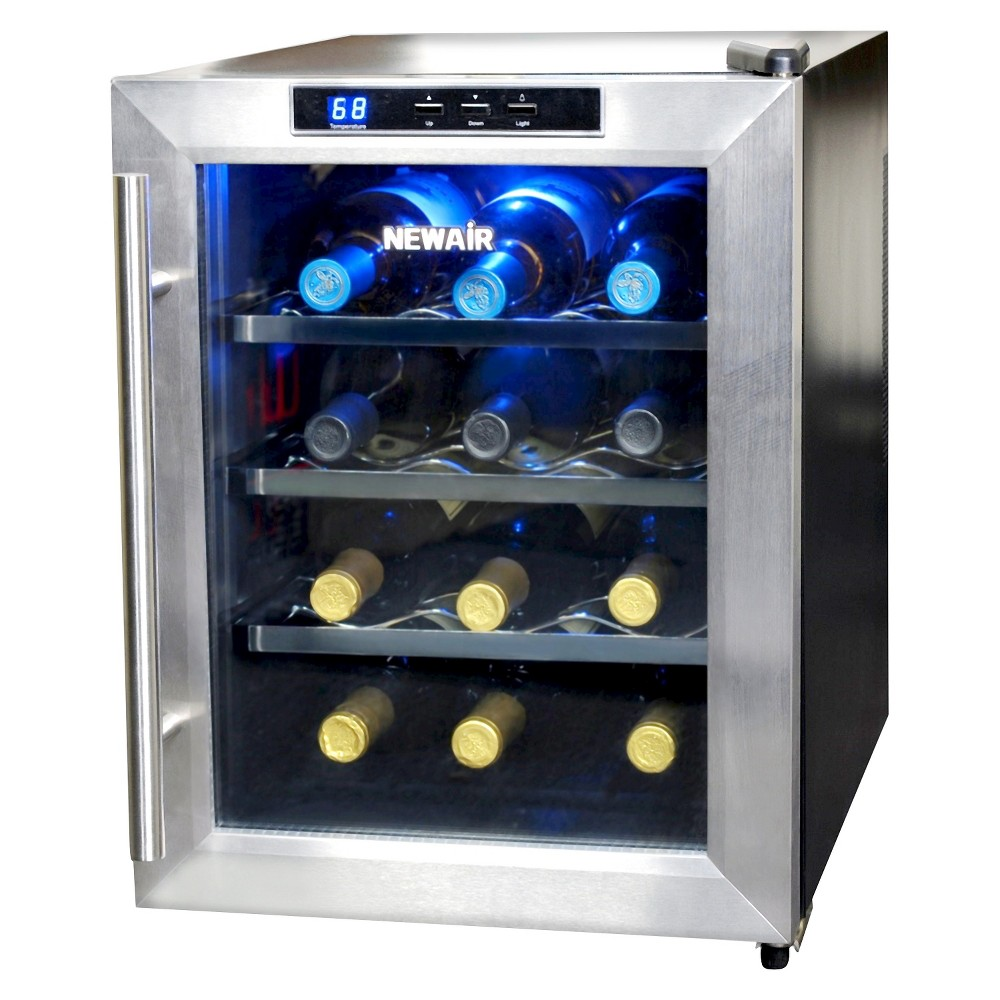 NewAir 12 Bottle Countertop Thermoelectric Wine Cooler – Stainless Steel (Silver) AW-121E 50148395