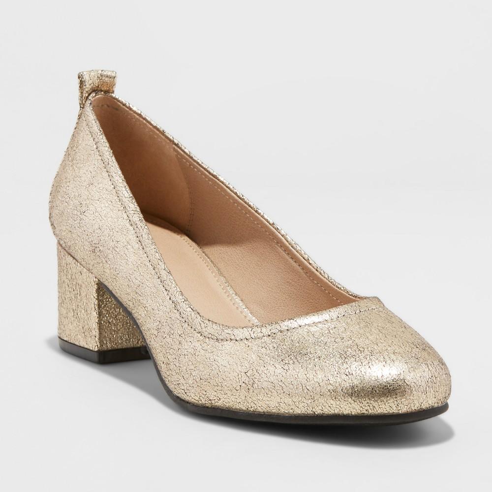 Women's Lenora Wide Width Closed Toe Heeled Pumps - Universal Thread Gold 7.5W, Size: 7.5 Wide