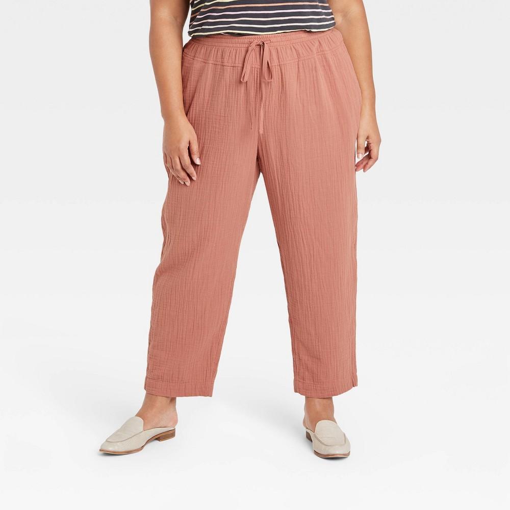 Women 39 S Plus Size High Rise Lounge Pants Universal Thread 8482 Brown 4x