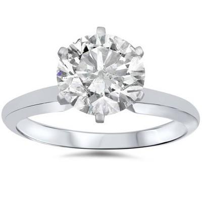 Pompeii3 14k White Gold 1 1/2 Carat Diamond Round Solitaire Engagement Ring Enhanced