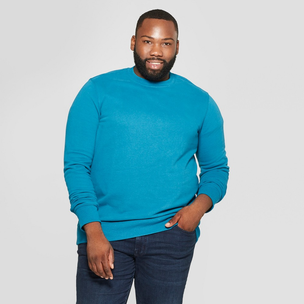 Men's Big & Tall Long Sleeve Standard Fit Fleece Pullover Sweatshirt - Goodfellow & Co Underseas Teal 3XBT
