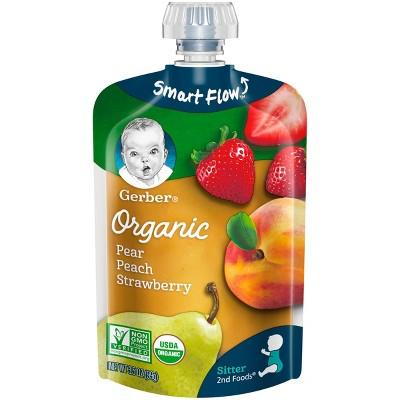 Gerber Organic 2nd Foods Pears Peaches & Strawberries 3.5oz
