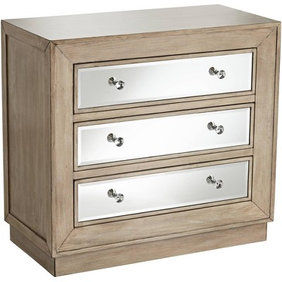 "55 Downing Street Gabriella 32"" Wide Mirrored and Oak Wood Drawer Accent Chest"