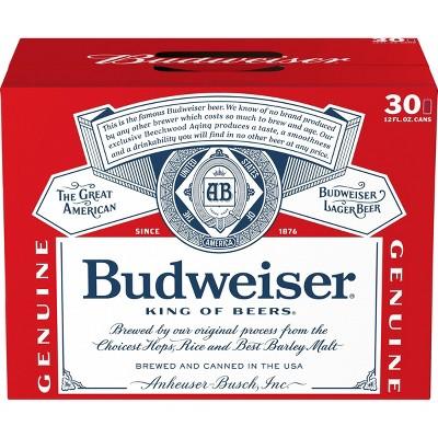 Budweiser Lager Beer - 30pk/12 fl oz Cans