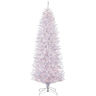 6.5ft Pre-lit Artificial Christmas Tree White Pencil Forest Fir