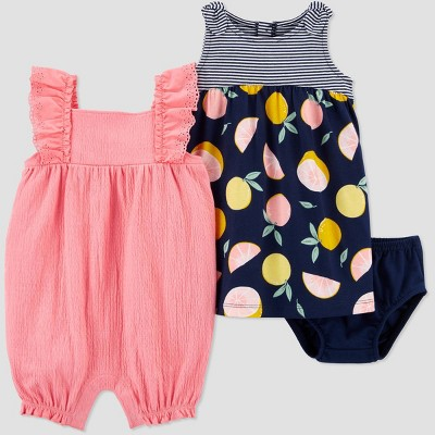 Baby Girls' 2pk Floral & Grapefruit Romper Set - Just One You® made by carter's Pink